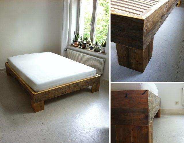 Bett Holz Schreiner Tischler Upcycling