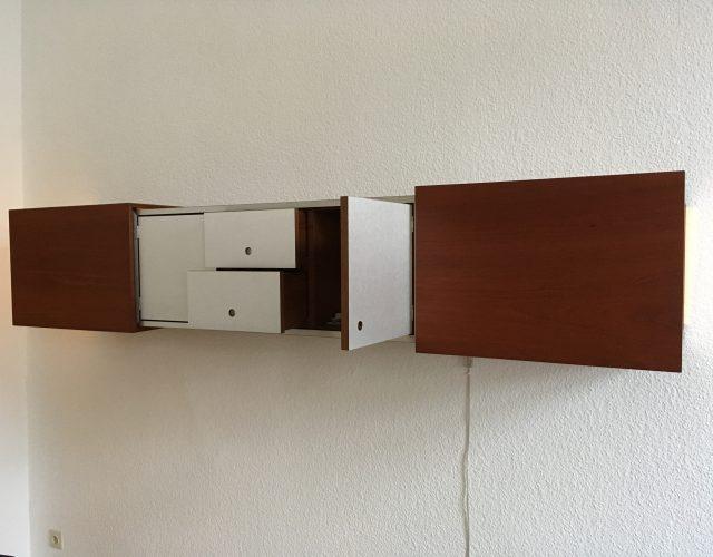 haengeschrank sideboard teak beleuchtet kubus