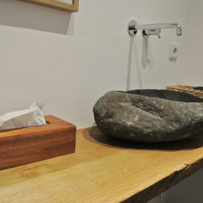 Badezimmermöbel Holz Waschtisch Rustikal Eichenbohle - © 2018 Tischlerei Bechhold