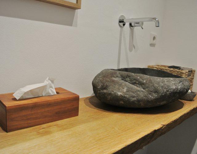 Badezimmermöbel Holz Waschtisch Rustikal Eichenbohle