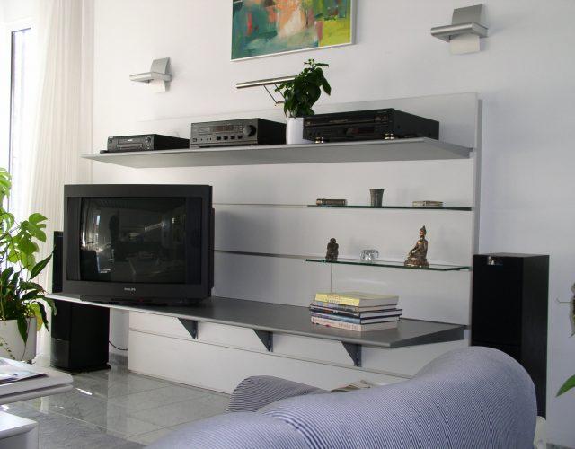 TV-Wand Holz Lack